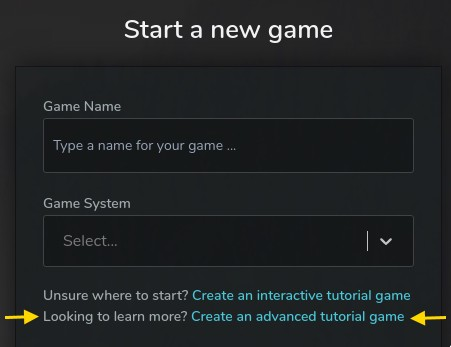Create an advanced tutorial from the create game screen
